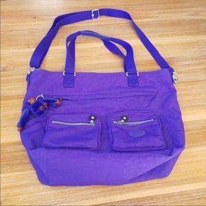Kipling NWOT Lg. Purple Shopper Crossbody Bag